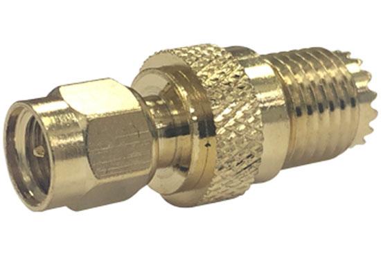 מעביר משקע מיני UHF לתקע SMA זהב