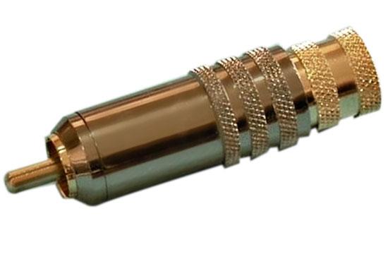 תקע RCA כבד מקצועי מוזהב מסומן סכוך כפול