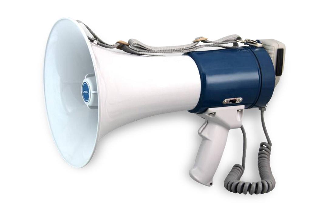 מגפון CAROL כחול בהספק 35W כולל מיקרופון נשלף