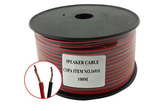 כבל רמקול אדום שחור נחושת מלא 1 ממ גליל 100 מטר