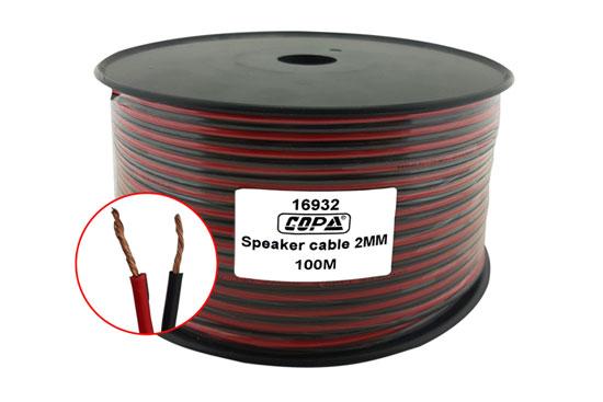 כבל רמקול אדום שחור נחושת מלא 2 ממ גליל 100 מטר