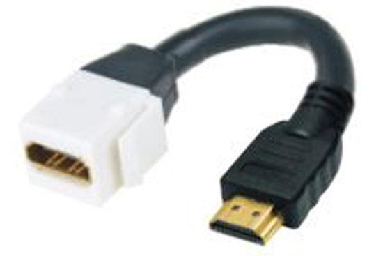 """מעביר שקע - תקע HDMI לקיסטון עם כבל באורך 15 ס""""מ"""